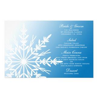 White Snowflake on Blue Winter Wedding Menu