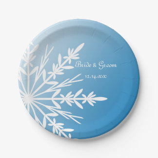 White Snowflake on Blue Winter Wedding Paper Plate