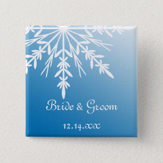 White Snowflake on Blue Winter Wedding Pinback Button