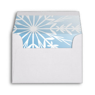White Snowflake on Blue Winter Wedding RSVP Envelope