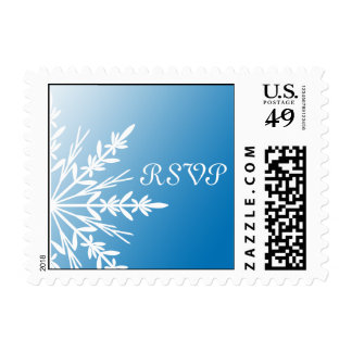 White Snowflake on Blue Winter Wedding RSVP Postage