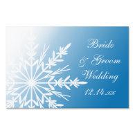 White Snowflake on Blue Winter Wedding Yard Sign