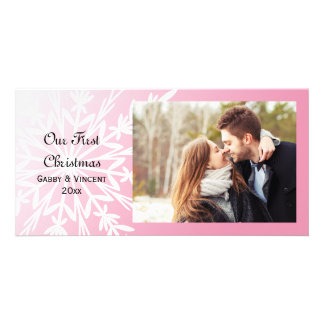 White Snowflake on Pink First Christmas Together Card