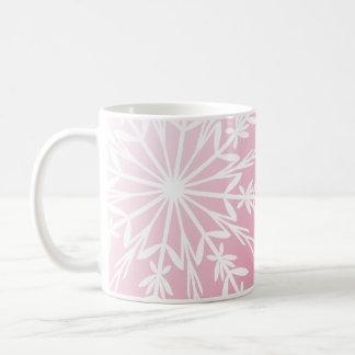 White Snowflake on Pink Happy Holidays Coffee Mug
