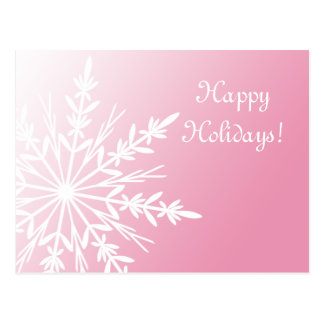 White Snowflake on Pink Happy Holidays Postcard
