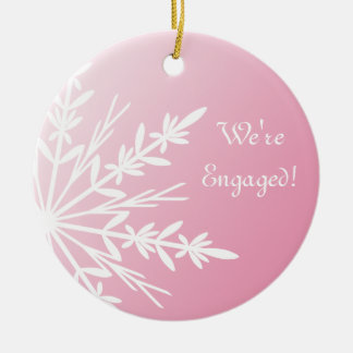 White Snowflake on Pink Winter Engagement Ceramic Ornament