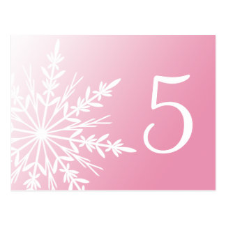 White Snowflake on Pink Winter Table Number Postcard