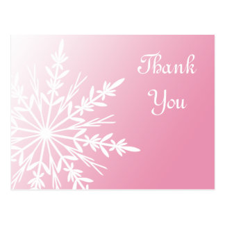 White Snowflake on Pink Winter Thank You Postcard