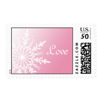 White Snowflake on Pink Winter Wedding Love Postage