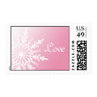 White Snowflake on Pink Winter Wedding Love Postage