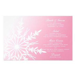 White Snowflake on Pink Winter Wedding Menu