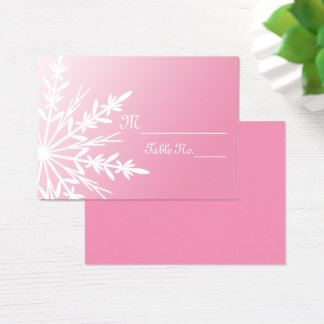 White Snowflake on Pink Winter Wedding Place Cards