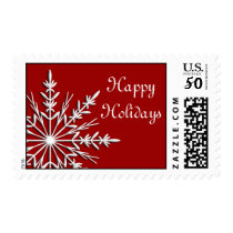 White Snowflake on Red Happy Holidays Postage