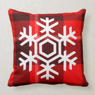 White Snowflake on Red Plaid Pattern Throw Pillows