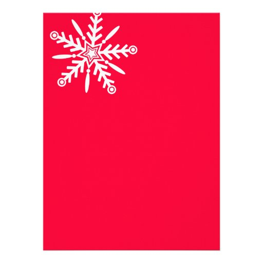White snowflake on red xmas personalized announcement