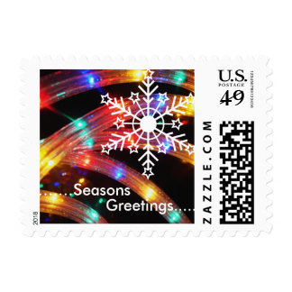 White Snowflake on rope light Postage Stamps