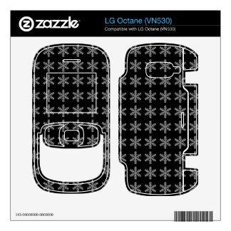 White Snowflake Pattern with Black Background LG Octane Skins