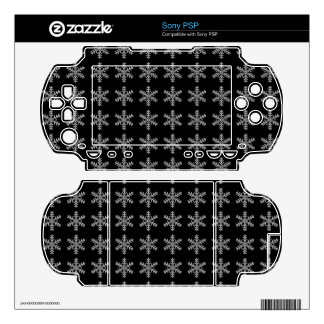White Snowflake Pattern with Black Background PSP Decals