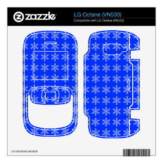 White Snowflake Pattern with Blue Background Decal For The LG Octane