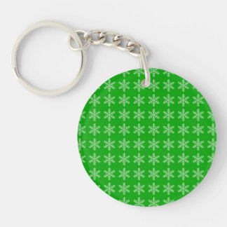 White Snowflake Pattern with Green Background Keychain