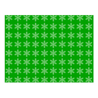 White Snowflake Pattern with Green Background Postcard
