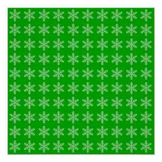 White Snowflake Pattern with Green Background Poster