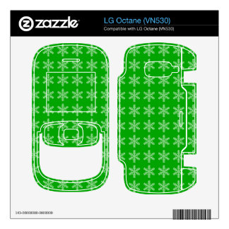 White Snowflake Pattern with Green Background LG Octane Decal