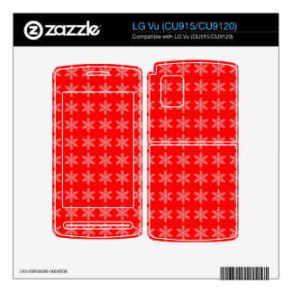 White Snowflake Pattern with Red Background Skin For The LG Vu