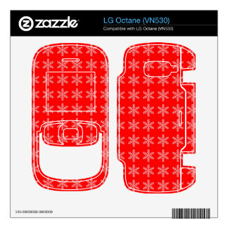 White Snowflake Pattern with Red Background LG Octane Decals