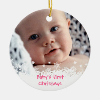 White snowflake pink gingerbread kid custom photo Double-Sided ceramic round christmas ornament