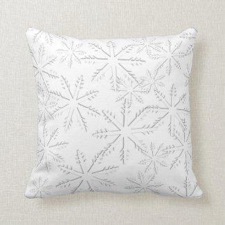 White Snowflake Print Throw Pillow