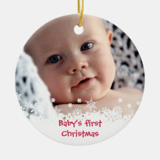White snowflake red gingerbread kid custom photo ceramic ornament