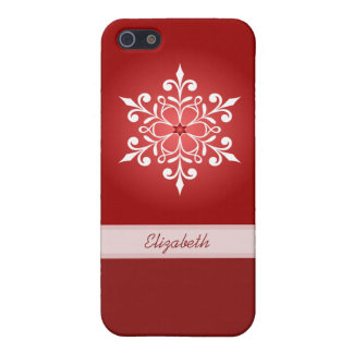 White Snowflake Red iPhone Case 5C/5/5S/4
