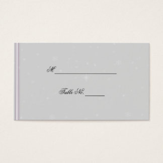 White Snowflake Silver Eggplant Wedding Place Card