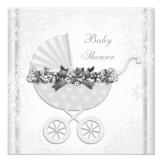 White Snowflake Winter Wonderland Baby Shower Card