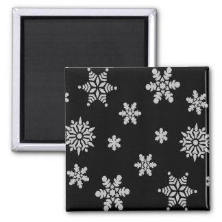 White Snowflake with Black Background Fridge Magnet