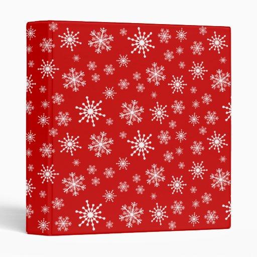 White Snowflakes 3 Ring Binder