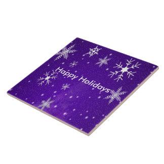 White Snowflakes Blue Backgrd Ceramic Photo Tile