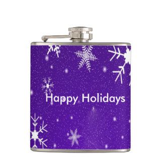 White Snowflakes Blue Backgrd Vinyl Wrapped Flask