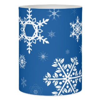 White Snowflakes Blue LED Candle