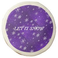 """White Snowflakes Blue-Purple Backgrd 3.5"""" Cookies Sugar Cookie"""