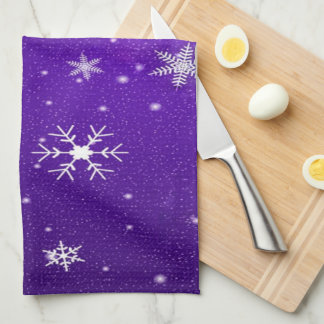 White Snowflakes Blue-Purple Backgrd Kitchen Towel