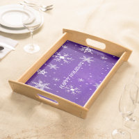 White Snowflakes Blue-Purple Large Serving Tray