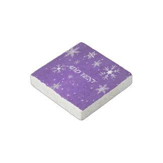 White Snowflakes Blue-Purple Marble Stone Magnet