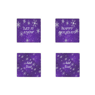 White Snowflakes Blue-Purple Marble Stone Magnets Stone Magnet