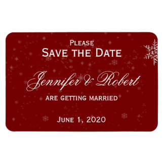 White Snowflakes Cranberry Wedding Save the Date Magnet