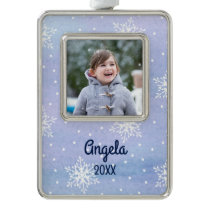White Snowflakes Dots Name Year Holiday Photo Christmas Ornament