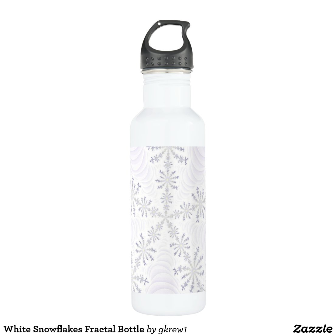 White Snowflakes Fractal Bottle