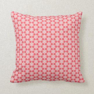 White Snowflakes Geometric Pattern Red Cushion Throw Pillow
