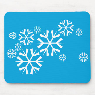 White Snowflakes on a Blue Background Mouse Pad